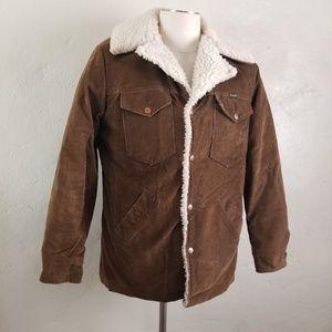 Vintage WRANGLER Coat Medium Brown Corduroy Fleec